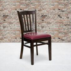 Walnut Finished Vertical Slat Back Wooden Restaurant Chair with Burgundy Vinyl Seat