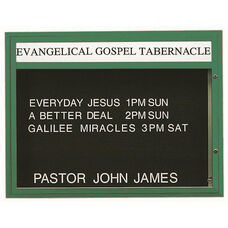 Single Sided Illuminated Community Board with Header and Forest Green Powder Coat Finish - 36