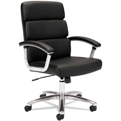 Basyx® VL103 Series Executive Mid-Back Chair with Padded Arms and Chrome Frame - Black Leather