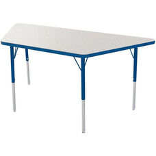 MG Series Teen Height Adjustable Trapezoid Activity Table - Gray Glace Top with Navy Edge and Legs - 48