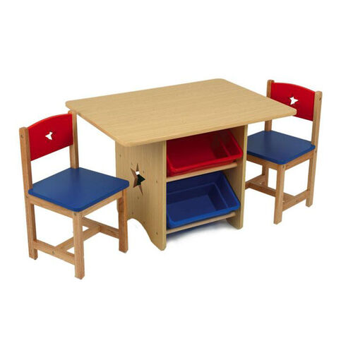 Our Kids Star Table and Two Chair Set with Four Plastic Storage Bins - Primary is on sale now.
