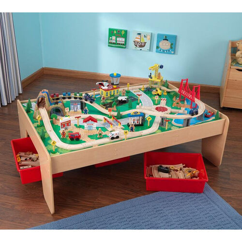 Our Kids Wooden Waterfall Mountain Train Set and Table with Three Storage Tubs Includes 120 Pieces is on sale now.