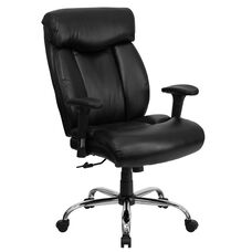 HERCULES Series Big & Tall 400 lb. Rated Black Leather Executive Swivel Chair with Full Headrest and Arms