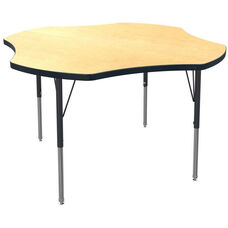 MG Series Teen Height Adjustable Clover Activity Table - Fusion Maple Top with Black Edge and Legs - 48