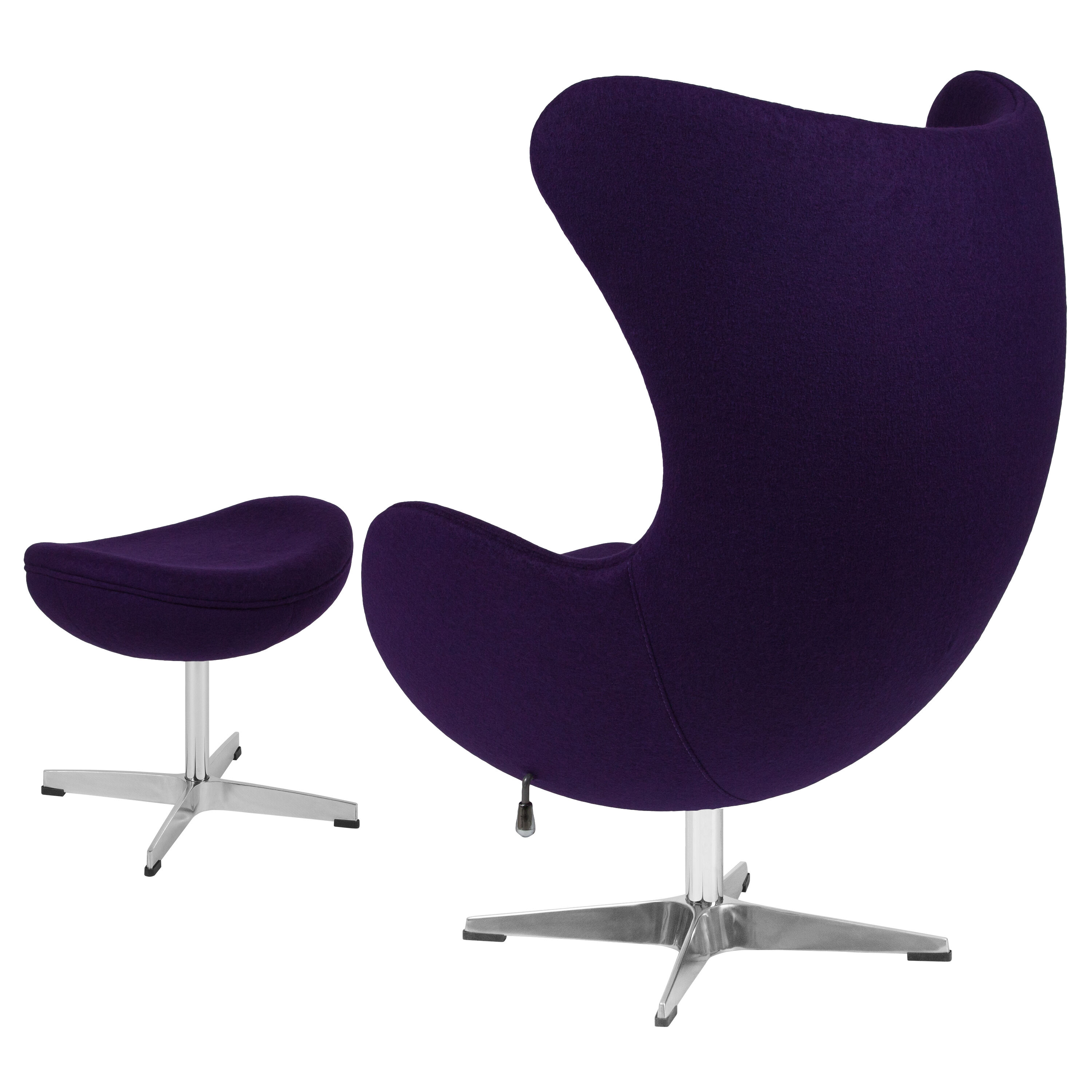 ... Our Purple Wool Fabric Egg Chair With Tilt Lock Mechanism And Ottoman  Is On Sale ...