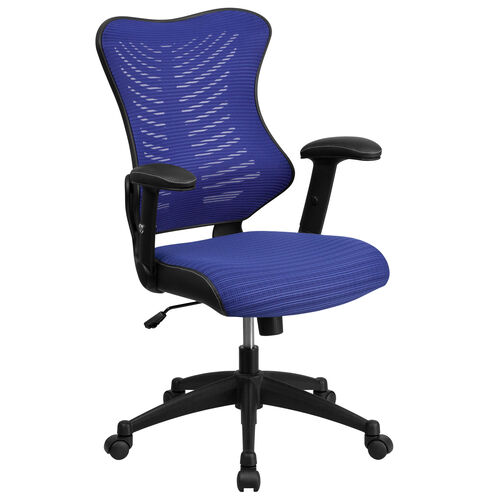 Our High Back Designer Blue Mesh Executive Swivel Ergonomic Office Chair with Adjustable Arms is on sale now.