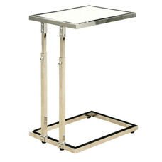 Adjustable Height Chrome Slide Under Sofa Accent Table - Glossy White