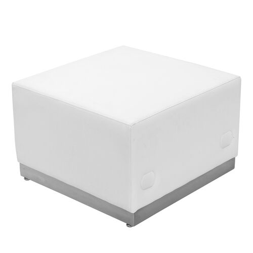 Our HERCULES Alon Series Melrose White Leather Ottoman with Brushed Stainless Steel Base is on sale now.