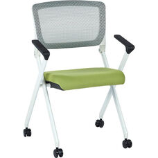 Space Pulsar Folding Chair with Breathable Mesh Back and Fabric Seat - Set of 2 - Olive