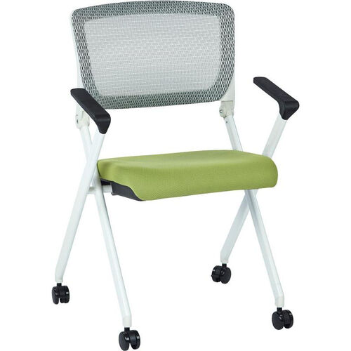 Our Space Pulsar Folding Chair with Breathable Mesh Back and Fabric Seat - Set of 2 - Olive is on sale now.
