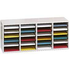 Adjustable Wooden Literature Organizer with Twenty-Four Compartments - Gray