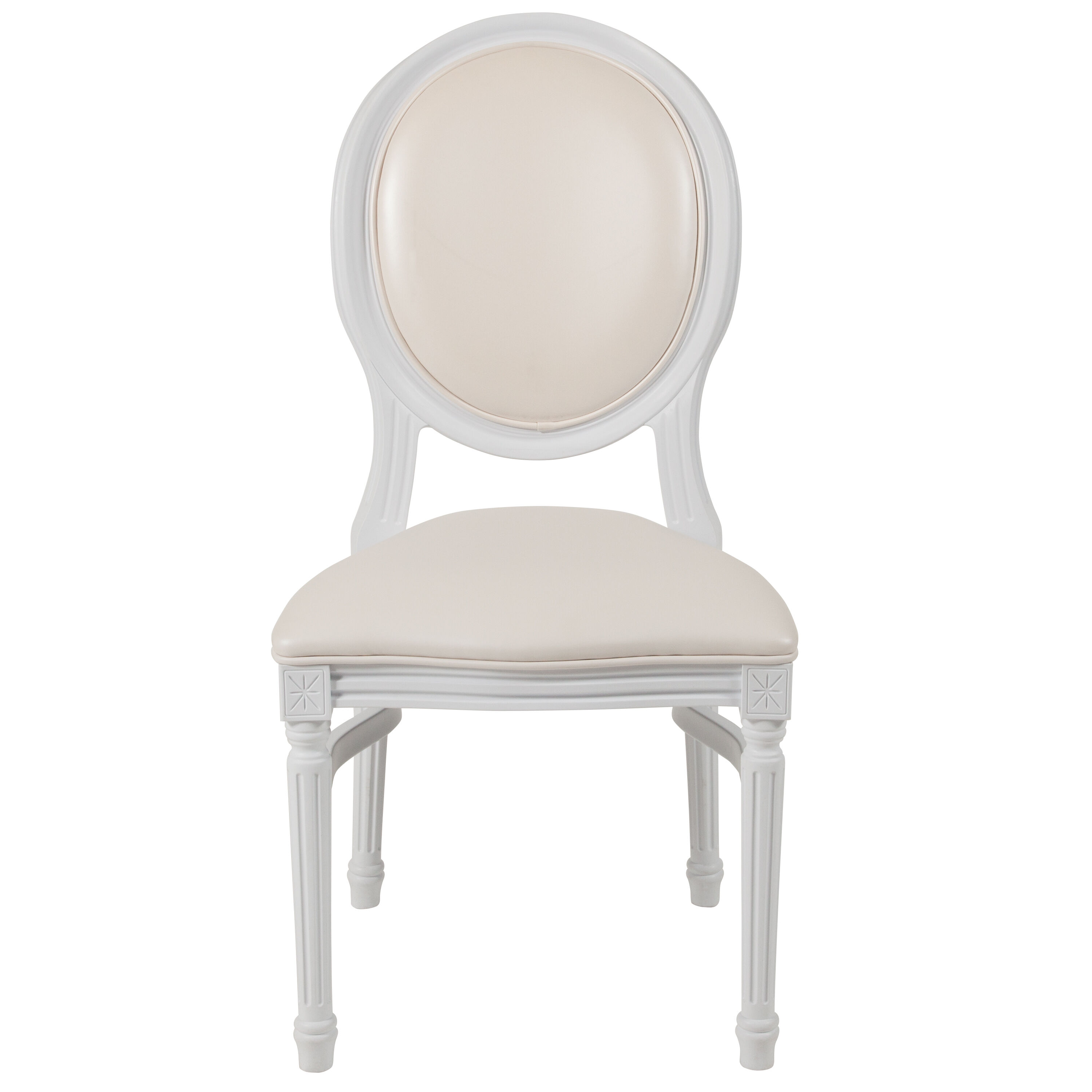 Capacity King Louis Chair With White Vinyl Back And Seat