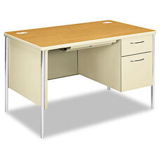 HON® Mentor Series Single Pedestal Desk - 48w x 30d x 29-1/2h - Harvest/Putty