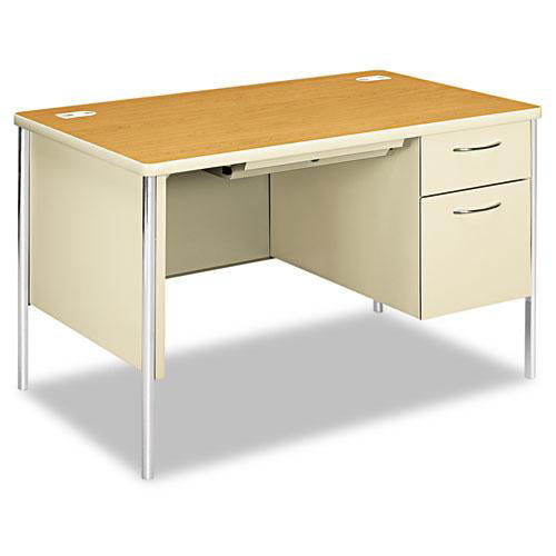 Our HON® Mentor Series Single Pedestal Desk - 48w x 30d x 29-1/2h - Harvest/Putty is on sale now.