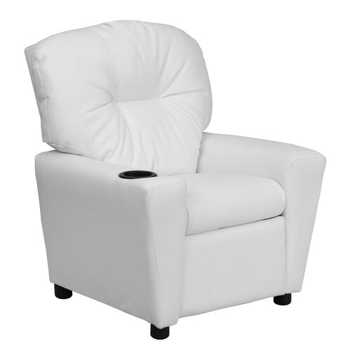 Our Contemporary White Vinyl Kids Recliner with Cup Holder is on sale now.