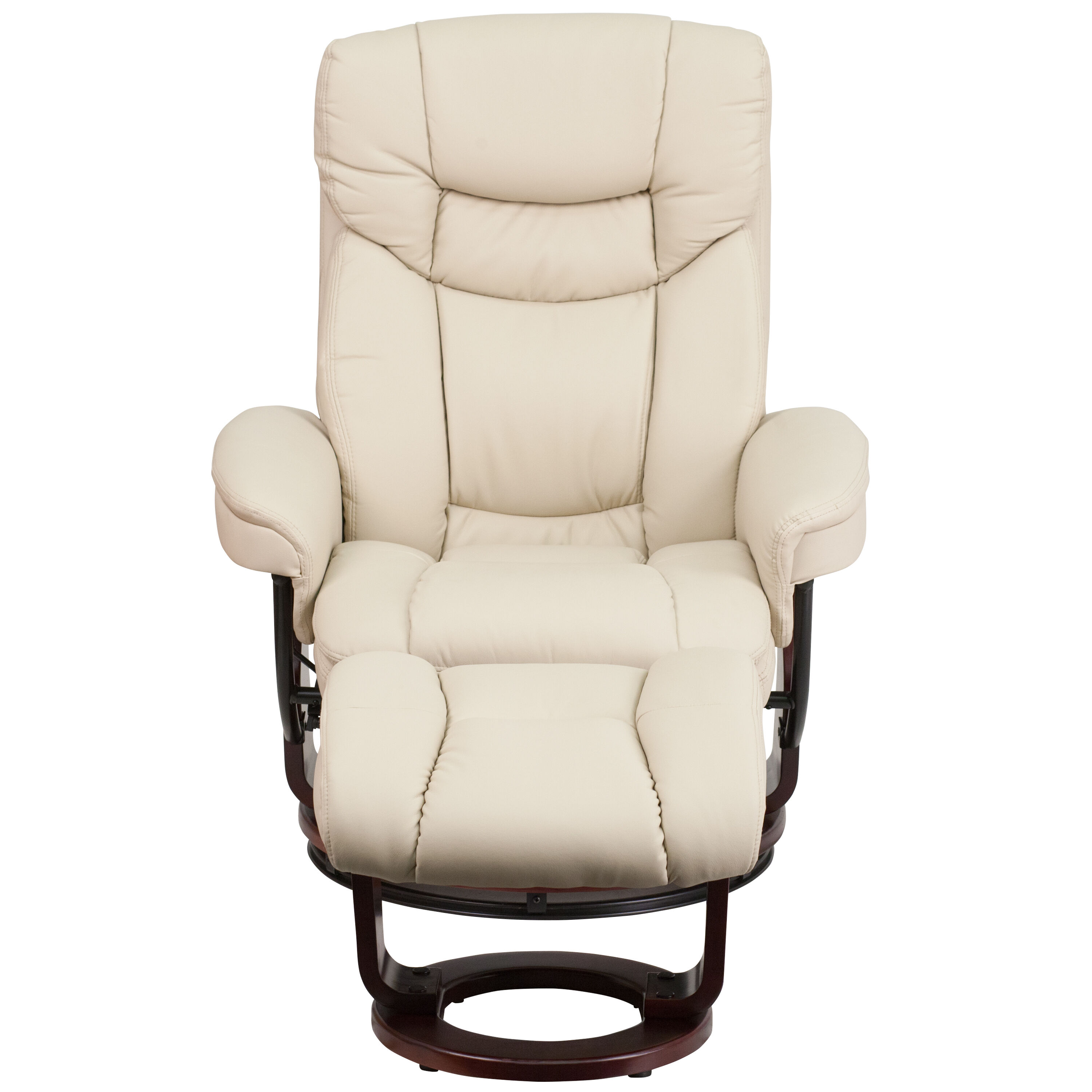 Beautiful ... Our Contemporary Beige Leather Recliner And Ottoman With Swiveling  Mahogany Wood Base Is On Sale Now ...