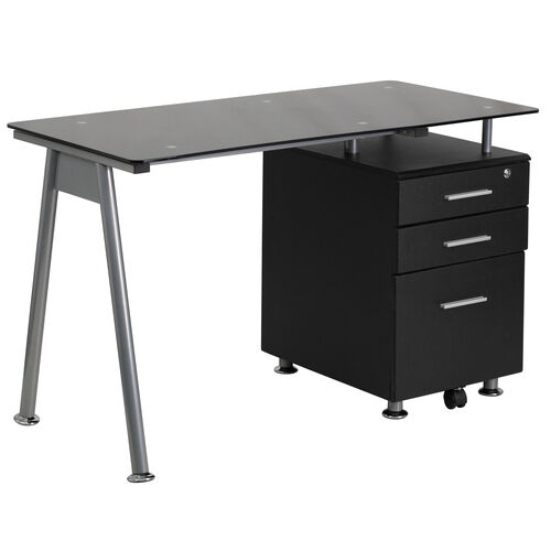 Our Black Glass Computer Desk with Three Drawer Pedestal is on sale now.