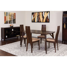Kensington 5 Piece Espresso Wood Dining Table Set with Padded Wood Dining Chairs