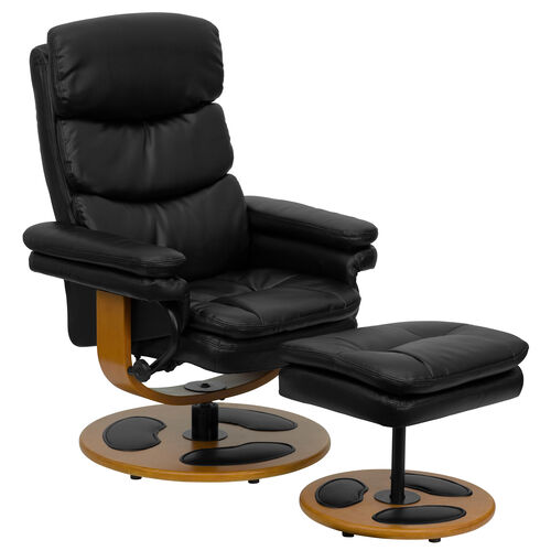 Our Contemporary Multi-Position Recliner and Ottoman with Wood Base in Black Leather is on sale now.