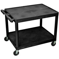2 Shelf High Open A/V Utility Cart - Black - 32