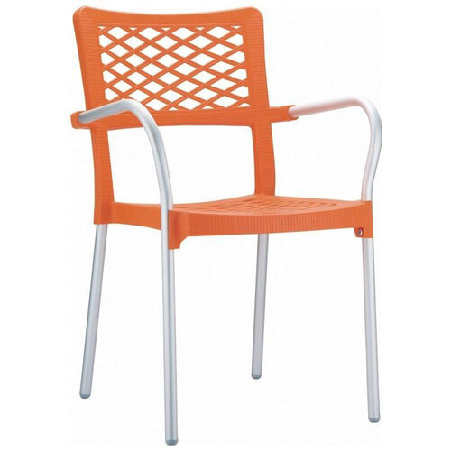 Our Bella Resin Stackable Dining Arm Chair with Aluminum Frame - Orange is on sale now.