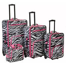 Rockland 4 Pc. Luggage Set - Pink Zebra