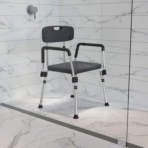 HERCULES Series 300 Lb. Capacity Adjustable Gray Bath & Shower Chair with Quick Release Back & Arms