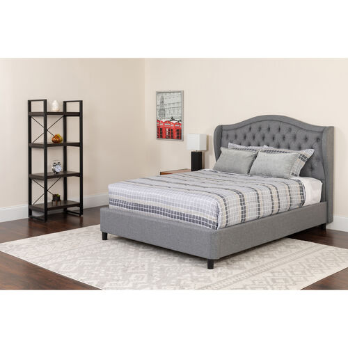 Our Valencia Tufted Upholstered King Size Platform Bed in Light Gray Fabric with Memory Foam Mattress is on sale now.