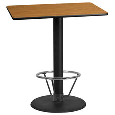 30'' x 42'' Rectangular Natural Laminate Table Top with 24'' Round Bar Height Table Base and Foot Ring