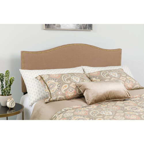 Our Lexington Upholstered King Size Headboard with Accent Nail Trim in Camel Fabric is on sale now.