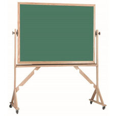 Reversible Free Standing Green Porcelain Chalkboard with Red Oak Frame