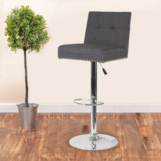 Ravello Contemporary Adjustable Height Barstool with Accent Nail Trim in Dark Gray Fabric