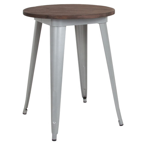 """Our 24"""" Round Silver Metal Indoor Table with Walnut Rustic Wood Top is on sale now."""