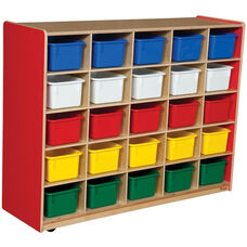 Wooden Storage Unit with 25 Assorted Plastic Trays - Strawberry - 48