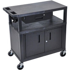 Molded Thermoplastic Resin 3 Shelf Presentation Cart with Locking Drawer and Cabinet - Black - 32