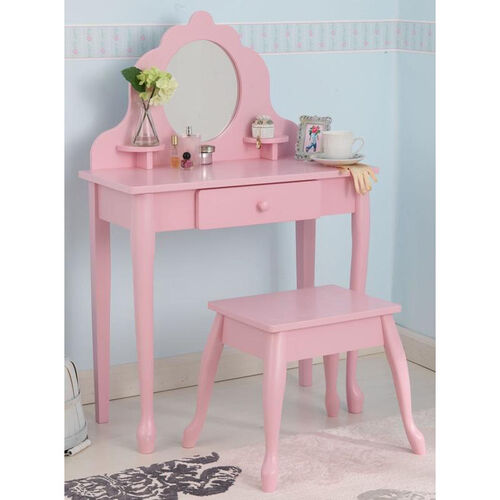 Our Queen Anne Style Kids Medium Size Vanity Includes Mirror and Stool - Pink is on sale now.