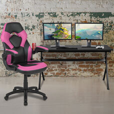 BlackArc Black Gaming Desk and Pink/Black Racing Chair Set with Cup Holder, Headphone Hook and Removable Mouse Pad Top - 2 Wire Management Holes