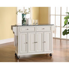 Solid Granite Top Kitchen Island Cart with Cabinets - White Finish