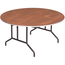 Round Sealed and Stained Plywood Top Table with Aluminum T - Molding Edge - 72