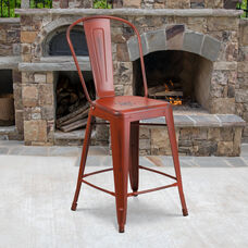 """Commercial Grade 24"""" High Distressed Kelly Red Metal Indoor-Outdoor Counter Height Stool with Back"""