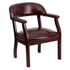 Oxblood Vinyl Luxurious Conference Chair with Accent Nail Trim