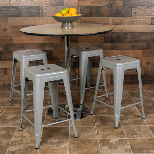 """Our 24"""" High Metal Counter-Height, Indoor Bar Stool in Silver - Stackable Set of 4 is on sale now."""