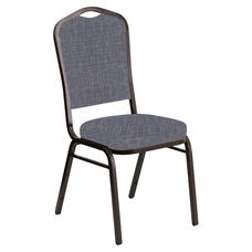 Embroidered Crown Back Banquet Chair in Amaze Hazelwood Fabric - Gold Vein Frame