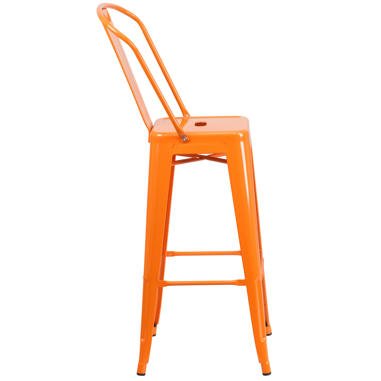 ... Our 30u0027u0027 High Orange Metal Indoor Outdoor Barstool With Back Is On Sale  ...