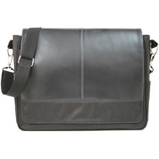 Laptop Messenger Bag - Genuine Leather - Black