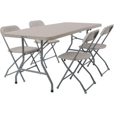 Work Smart Blow Mold 5-Piece Folding Chair and Table Set