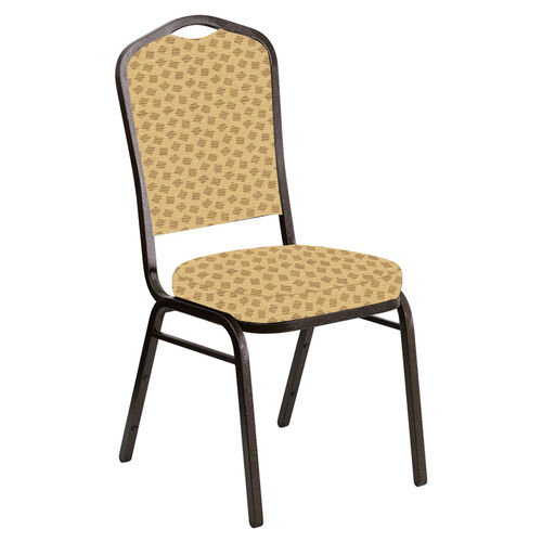 Embroidered Crown Back Banquet Chair in Scatter Barley Fabric - Gold Vein Frame