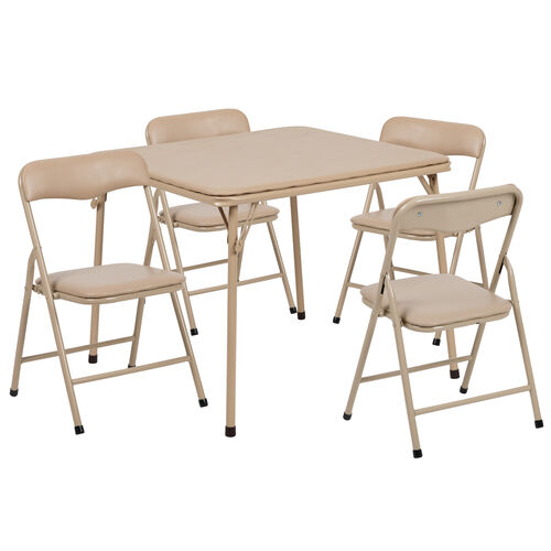 Our Kids Tan 5 Piece Folding Table and Chair Set is on sale now.