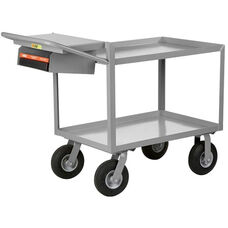 Instrument Cart With 2 Steel Shelves And Storage Pocket with Writing Shelf