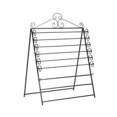 Easel or Wall Mount Decorative Scroll Metal Paper Craft Storage Rack - Black